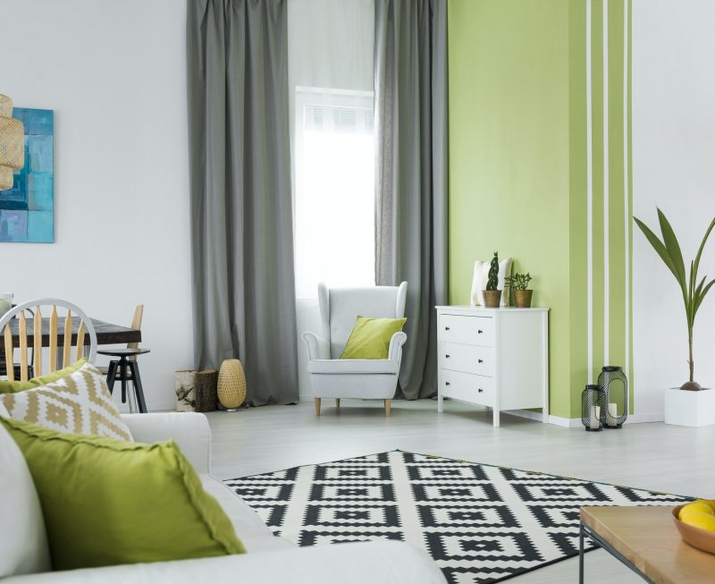 Green and white home interior